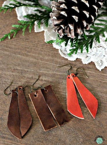 DIY Leather Earrings by A Blossoming Life