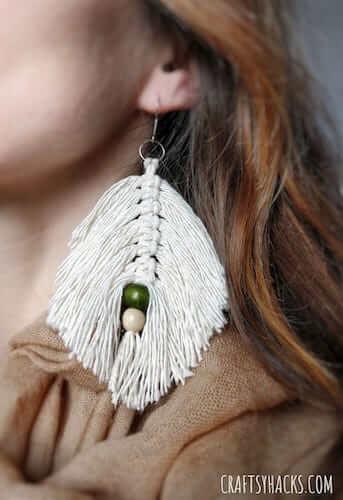 DIY Macrame Leaf Earrings by Craftsy Hacks