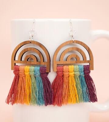 DIY Rainbow Macrame Earrings by Happiness Is Homemade