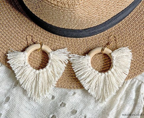 DIY Statement Circle Fringe Earrings by Made In A Day