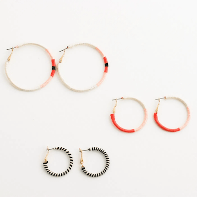 Embroidery Thread Wrapped Hoop Earrings by Flax & Twine