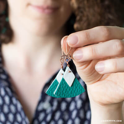 Geometric Leather Earrings by Lia Griffith
