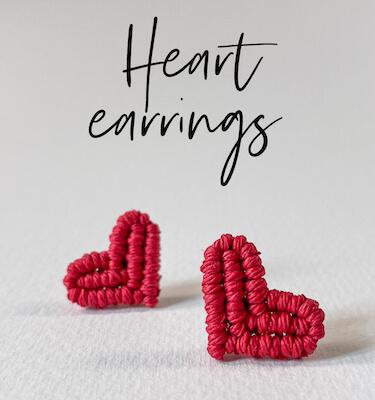 Heart Macrame Earrings by Curious Craft Studio