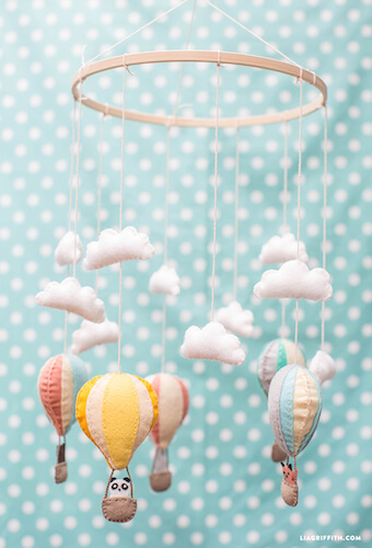 Hot Air Balloon Baby Mobile by Lia Griffith