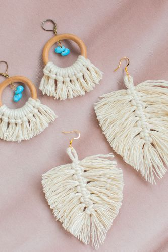 How To Make Macrame Earrings Two Ways by The Spruce Crafts