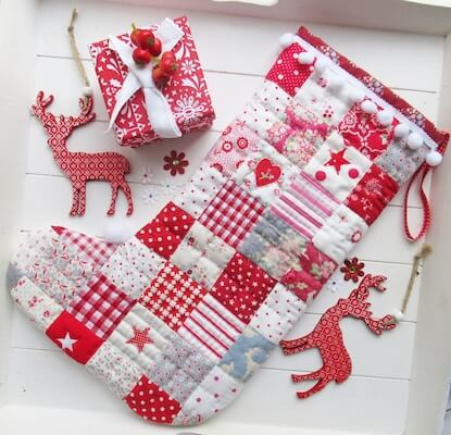 Red Patchwork Christmas Stocking Sewing Pattern by Helen Philipps Designs