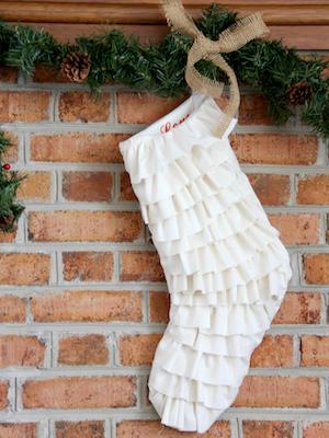 Ruffled-Fringe Christmas Stocking by DIY Network