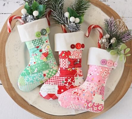 Scrappy Mini Stocking Sewing Pattern by A Spoonful Of Sugar