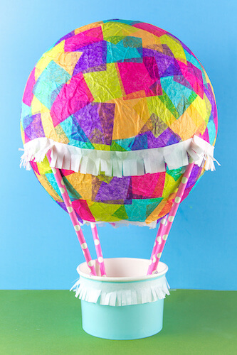 Tissue Paper Hot Air Balloon Craft by Kids Activities