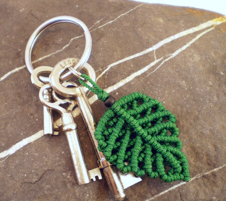 Chinese Knot Macrame Leaf Keychain Tutorial by LanesEndKnots