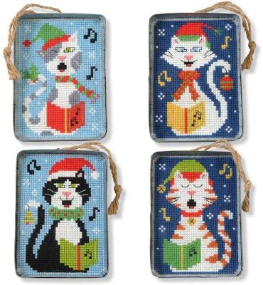 Herrschners Caroling Kitties Tin Ornaments Plastic Canvas Kit