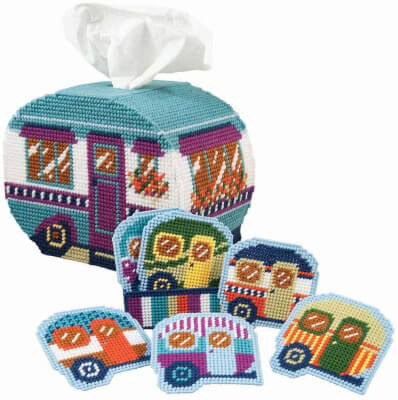 Herrschners Happy Campers Coasters & TB Plastic Canvas Kit