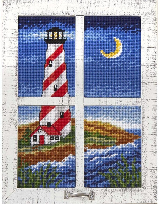 Herrschners Lighthouse Bay Window Plastic Canvas Wall Hanging Design