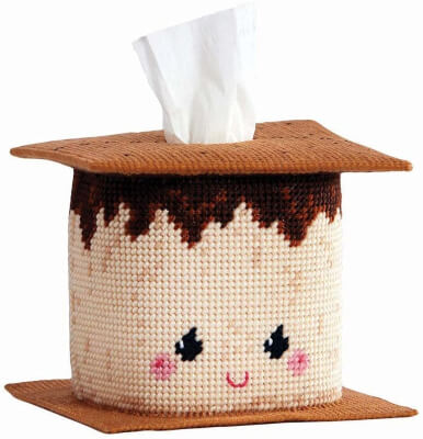 Herrschners Time for S'Mores Plastic Canvas Tissue Box Kit