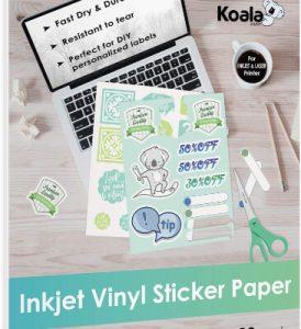 Koala Printable Vinyl Sticker Paper for Inkjet Printer