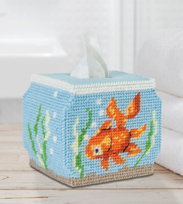 MARY MAXIM Fish Bowl Plastic Canvas Tissue Box Kit