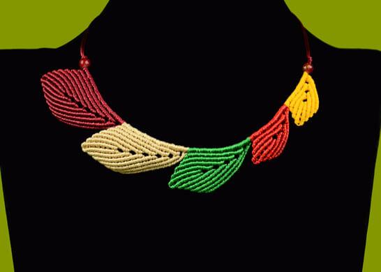Macrame Leaf Necklace Tutorial from Macrame School