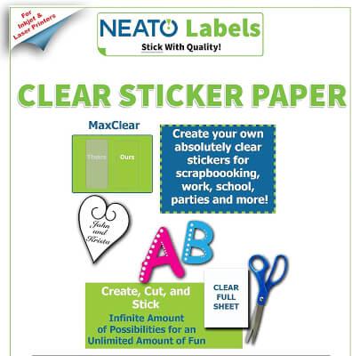 Neato Clear Printable Sticker Paper
