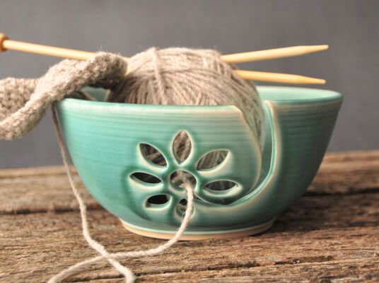Turquoise Ceramic Yarn Bowl with flower from RobinBadgerPottery
