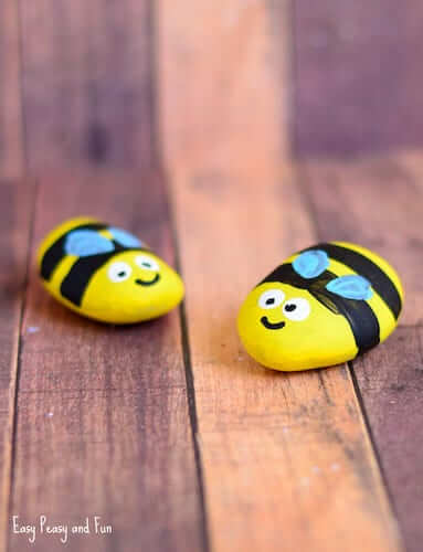 Bee Painted Rocks by Easy Peasy And Fun