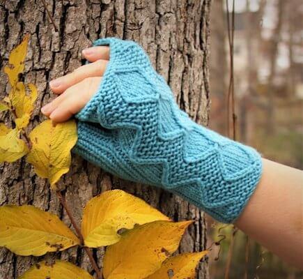 Blue Sky Lemonade Fingerless Gloves Knitting Pattern by Anastasia Blaes