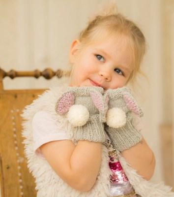 Bunny Fingerless Gloves Knitting Pattern by Muki Crafts