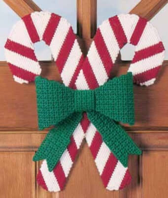 Candy Cane With Bow Plastic Canvas Pattern by Fairy Penguin Crafts