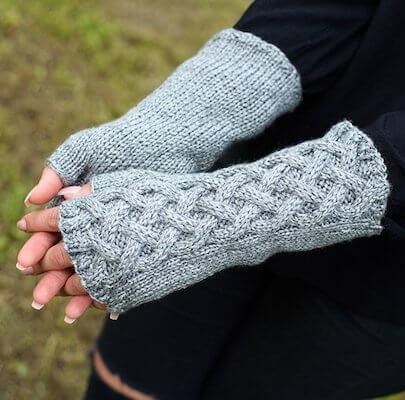 Celtic Cable Fingerless Gloves Knitting Pattern by Handy Little Me