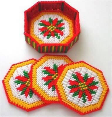 Christmas Poinsettia Coaster Plastic Canvas Pattern by Dancing Dolphin Crafts