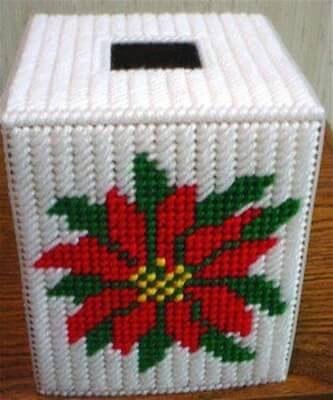 Christmas Poinsettia Tissue Cover Plastic Canvas Pattern by Dancing Dolphin Crafts