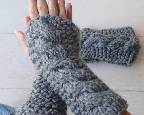 Chunky Cable Knit Fingerless Gloves Pattern by The Snugglery