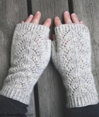 Cloudburst Fingerless Gloves Knitting Pattern by Arienne Grey