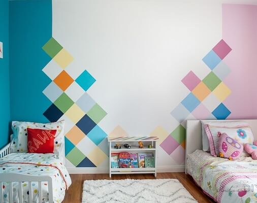 Colorful Accent Wall For Kids Room by Anika's DIY Life
