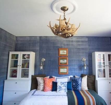 Denim Paint Faux Finish Walls Tutorial by The Heathered Nest