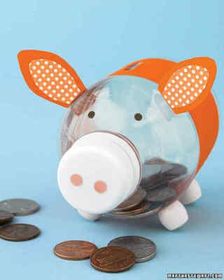 DIY Bottle Piggy Bank by Martha Stewart