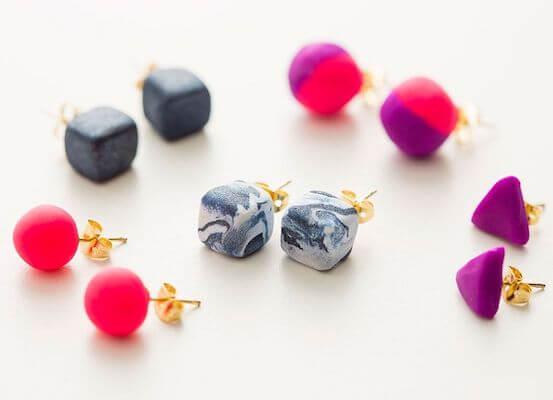 DIY Clay Stud Earrings by Brit + Co