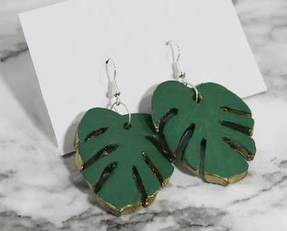 Monstera Leaf Clay Earrings DIY by Homemade Luxe