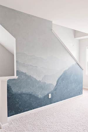 DIY Watercolor Mountain Wall Mural by Crafted By The Hunts