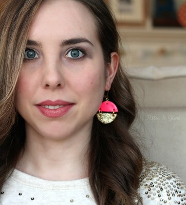 DIY Pink & Gold Polymer Clay Earrings by Pitter & Glink