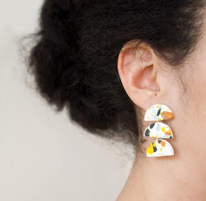 DIY Terrazzo Earrings Made From Scrap Clay by CTRL + Curate