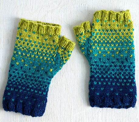 Drops Of Spring Mitts Knitting Pattern by Quinn Reverendo