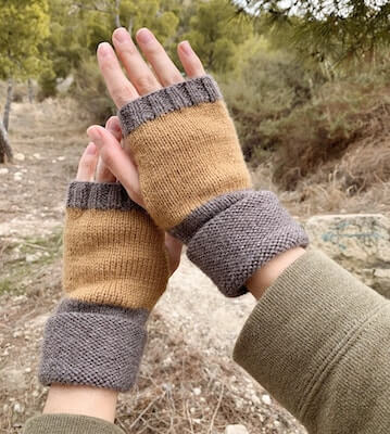 Easy Fingerless Gloves Knitting Pattern by Textured And Cozy