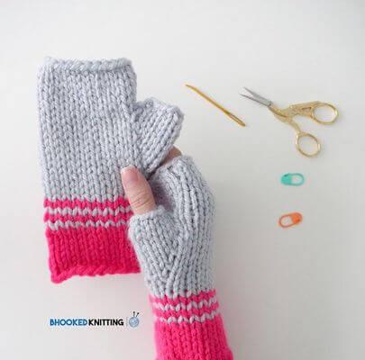 Easy Knit Fingerless Gloves Pattern by B.Hooked