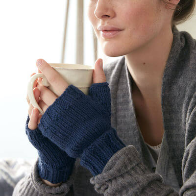 Fingerless Gloves Knitting Pattern by Yarnspirations