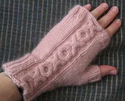 Fingerless Mitts With XO Cable Knitting Pattern by Pickin' And Throwin'