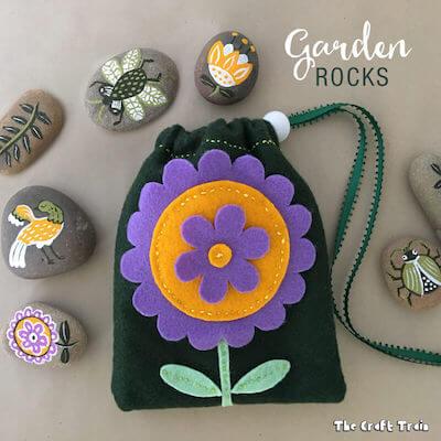 Garden Rocks In Drawstring Bag by The Craft Train
