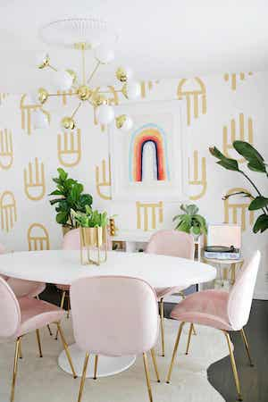 Geometric Painted Accent Wall by A Beautiful Mess
