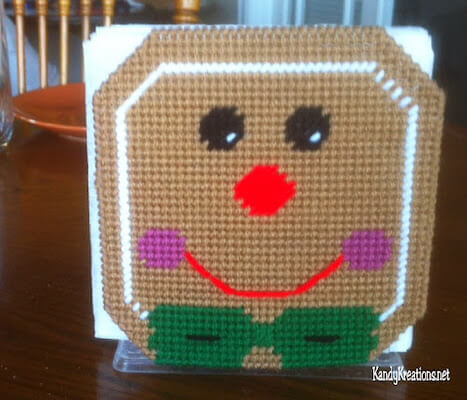 Gingerbread Man Napkin Holder Plastic Canvas Pattern by DIY Party Mom