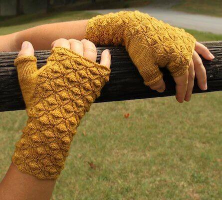 Golden Rod Reversible Fingerless Gloves Knitting Pattern by Anastasia Blaes