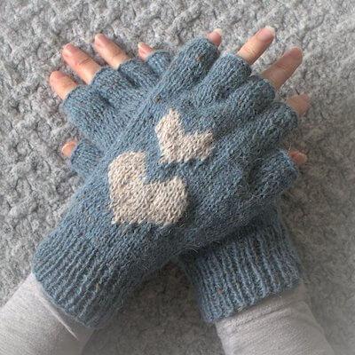 Hearts Fingerless Gloves Knitting Pattern by Wool N Hook